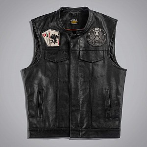Жилет мужской JOKER VEST LEATHER - WITH BACK PA